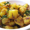 Potato and Methi Leaves Stir Fry
