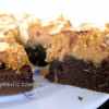 Eggless Chocolate cake topped with a crispy walnut layer