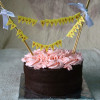 Chocolate Cake with Chocolate Frosting and Buttercream Rosettes