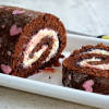 Patterned Chocolate Swiss Roll Cake