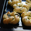 Twisted Knotted Mint Garlic Rolls - #BreadBakers