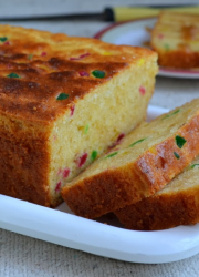 Eggless Orange Tutti Frutti Cake