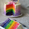 Rainbow Cake With Ombre Frosting