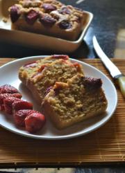 Eggless Whole Wheat Strawberry Tea Cake Recipe