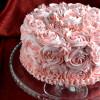 Eggless Chequered Rose Cake