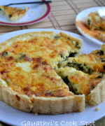 Eggless Spinach and Cheddar Cheese Quiche