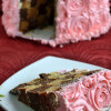 Eggless Chequered Rose Cake