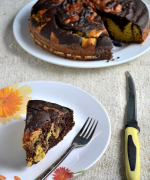 Eggless Butterless Mango Chocolate Marble Cake