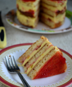 Eggless Cake Slice with Mango Icecream
