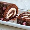 Patterned Chocolate Swiss Roll Cake