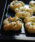Twisted Knotted Mint Garlic Rolls