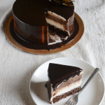 Eggless Double Chocolate Mousse Cake with Chocolate Mirror Glaze