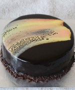 Eggless Leopard Print Mirror Glaze Cake - Vegetarian Version