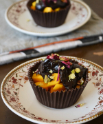 Edible Chocolate Cups with Mango and Chocolate Ganache Filling