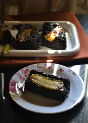 Eggless Upside Down Banana Brownies Recipe