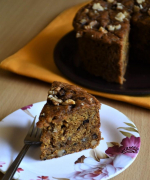 Whole Wheat Eggless Banana Walnut Cake - #bakingwithoutovenseries
