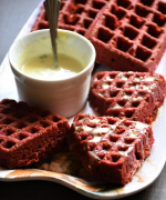 Red Velvet Waffles Recipe - Eggless Version